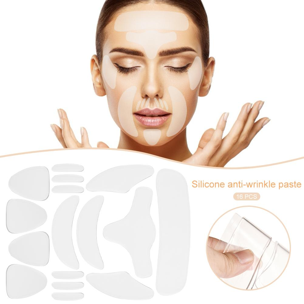 16PCS/Set Reusable Silicone Anti-wrinkle Face Forehead Sticker Cheek Chin Sticker Facial Patches Wrinkle Remover Strips