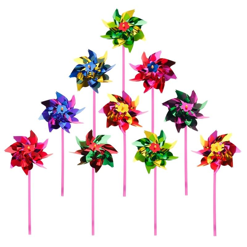 New 10Pcs Plastic Windmill Pinwheel Wind Spinner Kids Toy Garden Lawn Party Decor Random Color Kids Gift