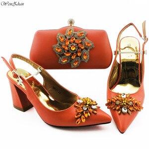 Оранжевые женские туфли и сумочка в комплекте с большими кристаллами, вечерние туфли и сумочка в нигерийском стиле, женские туфли и сумочка ...