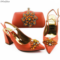 Orange Ladies Matching Shoe and Bag With Big Crystal Nigerian Shoes and Bags Set for Party Women Shoe and Bag To Match B910 12