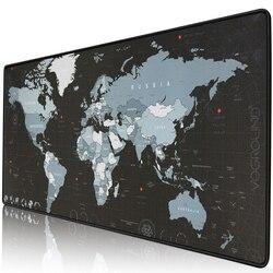 Экстра большой коврик для мыши, карта мира, компьютерная игровая коврик для мыши, противоскользящий натуральный каучук с запирающимися кра...