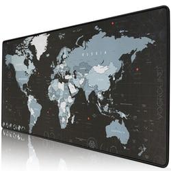 Borracha natural antiderrapante do jogo do computador do mapa do mundo da almofada do rato extra grande com a esteira grande do rato do gamer da borda de travamento