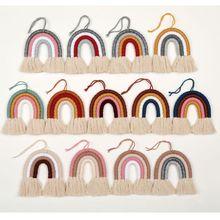 Macrame Arco Iris colgante de pared de color decorativo para la decoración del hogar Boho, suministros de fiesta, Baby Shower, Nursey dormitorio