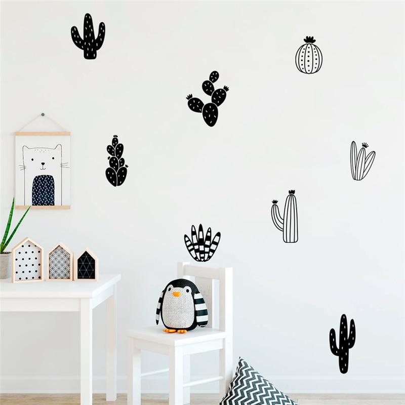 creative cactus prickly pear pot wall stickers home decor living room plant wall decals vinyl mural art diy wallpaper