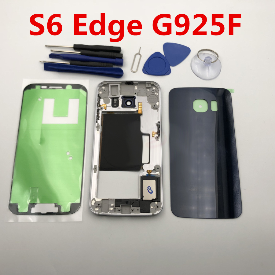 Replacement Parts Middle Frame + battery door For Samsung Galaxy S6 Edge G925F G925 SM-G925F housing set case Accessories +Tools