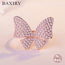 Trendy Luxury Silver Ring Gemstone 925 Sterling Rings For Women Party Crystal Big Butterfly Adjustable Zircon