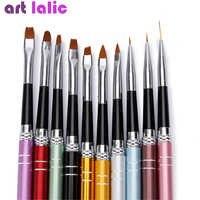 10 unids/lote juego de pinceles para manicura 10 colores diferentes tamaños cobre mango diseño esmalte Nylon UV Gel pintura uñas pinceles