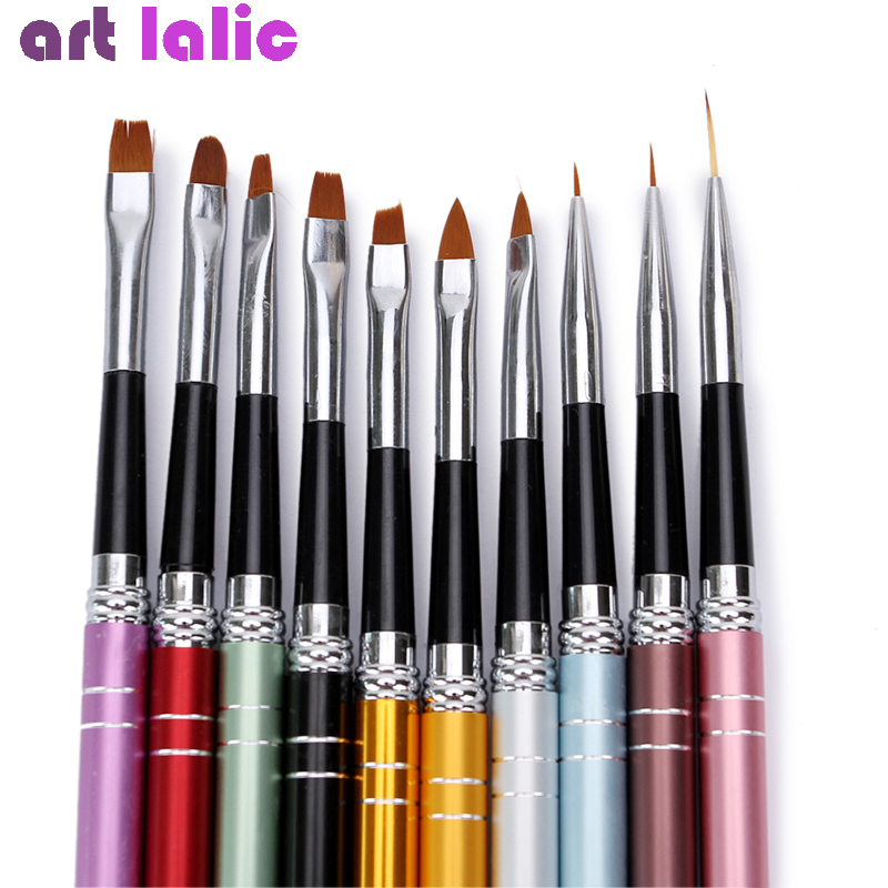 10Pcs/lot Nail Art Brush Set 10 Colors Different Sizes Copper Handle Design Polish Nylon UV Gel Painting Nail Brushes