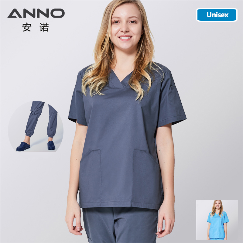 ANNO Medical Scrub Set Nursing Uniform For Women Men Clinical Surgical Clothes Hospital Gown With Elastic Farbric