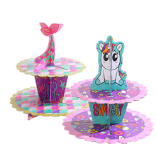Unicorn Mermaid Birthday Party Cake Stand Cartoon DIY Paper Round Cup Wedding Decorations