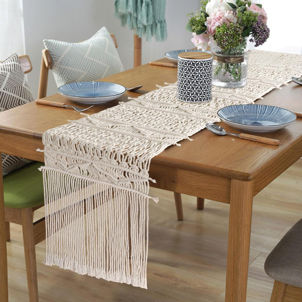 OurWarm Macrame Table Runner Handwoven Cotton Boho Table Runner With Tassels Bohemian Rustic Wedding Table Decor 14 X 84 Inch