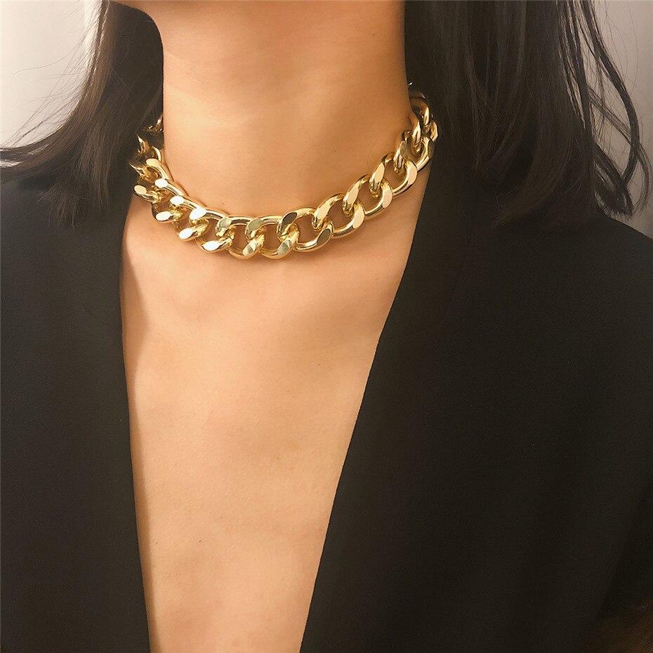 Новинка 2020, модное ожерелье Майами из кубинской цепи в стиле панк, эффектное ожерелье из алюминия золотого цвета, толстая цепь, ожерелье, Женские Ювелирные изделия Цепочки    АлиЭкспресс - Топ аксессуаров с Али