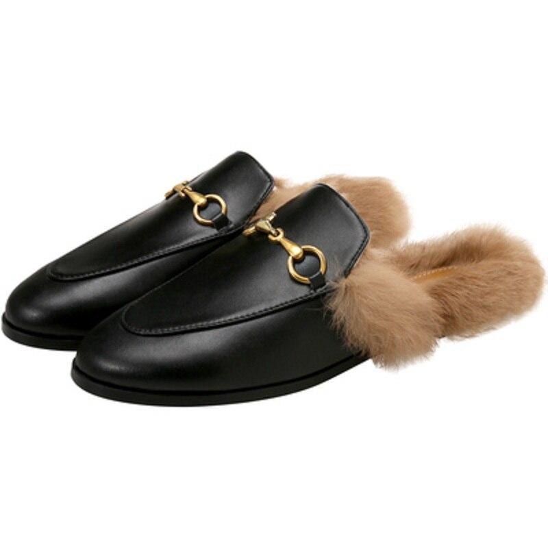 Chinelos peludos das mulheres zapatillas de casa outono e inverno vestir novos sapatos muller net vermelho preguiçoso sapatos de pele de coelho plana baotou metade