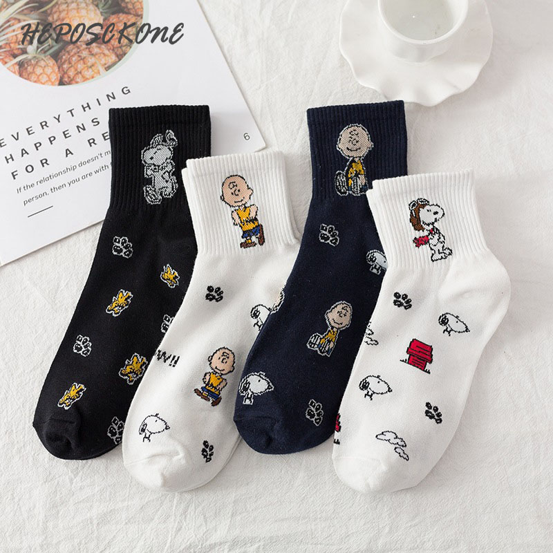 Creative Cartoon Women Socks Casual Harajuku Lovely Snoopy Funny Sock Cotton Breathable Cotton College Style Calcetines Mujer