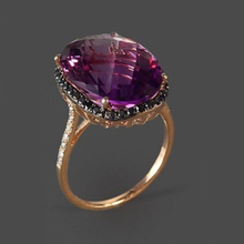 2019 Luxury Women Engagement Ring Rose Gold Metal Oval Purple Stone Black Micro CZ Paved Rings Cocktail Statement Jewelry DDR038