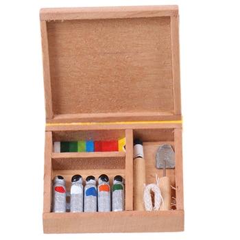Bonita pintura de casa de muñecas 112 muñeca de caja casa Mini caja de pintura barras de pigmento DIY para muñecas piezas de Casa accesorios miniaturas de juguete