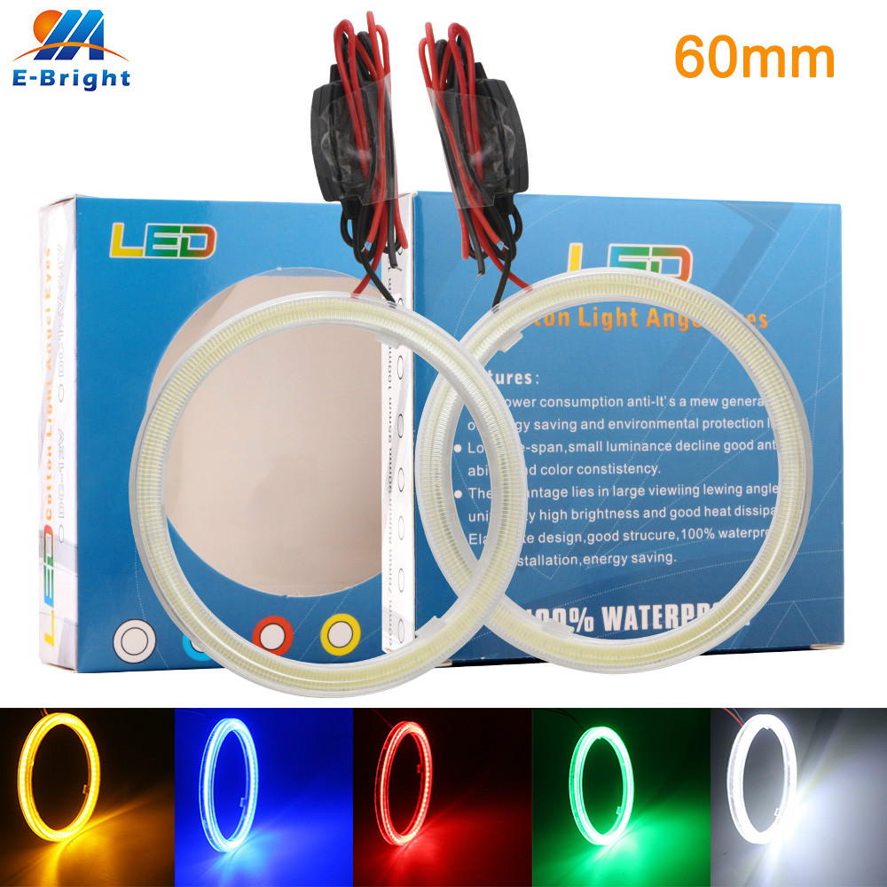 2X 60mm 9-30V COB Car LED Angel Eyes Halo Rings Constant Current 45SMD Halo Anneau Colorful LED <font><b>Headlights</b></font> White Yellow Red Blue image