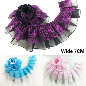 7CM Wide Luxury Pink Purple Blue 3d Pleated Organza Lace Pompom Fringe Ribbon Ruffle Trim Dress Collar Decorative Sewing Guipure
