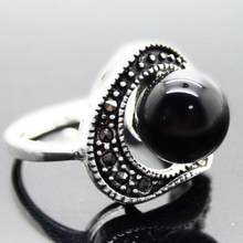 Jewelry Pearl Ring wholesale Natural 6mm Black Natural jade Beads 925 Sterling Silver Marcasite Ring Size 7/8/9/1 Free Shipping(China)