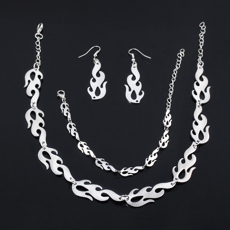SG Punk Flame Necklaces Clavicle Hip Hop Flame Rock Chain Bracelets Oorbellen Collar Metal Lady Girl Choker Fashion Jewelry