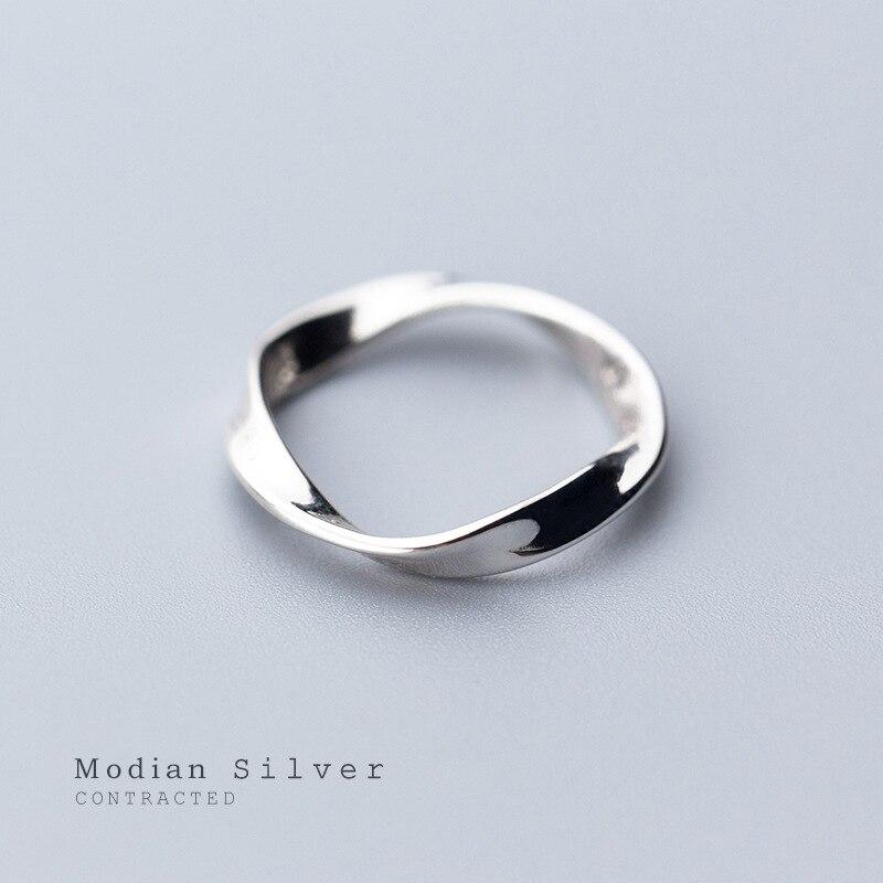 Женские кольца Modian, простые геометрические кольца из стерлингового серебра 925 пробы, ювелирные украшения 2020, новый дизайн|Кольца|   | АлиЭкспресс