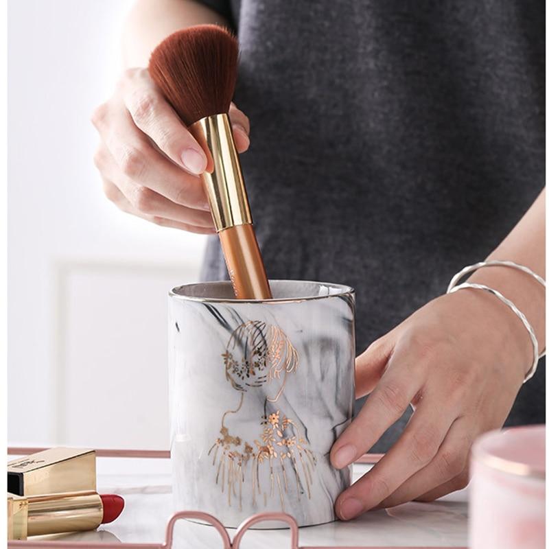 Desk-Organizer Makeup-Brush-Holder Ceramic-Pen-Holder Marble Texture Bjstore 1pc Pot