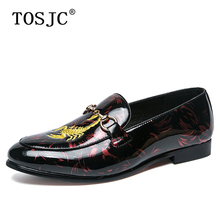 где купить TOSJC Fashion Mens Pointed-toe Oxfords Breathable Slip-on Loafers for Adult Buckle Wedding Formal Shoes Embroidery Dress Shoes по лучшей цене