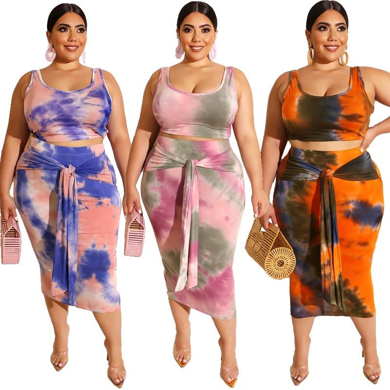 Skirt and Top Set Women Plus Size 4xl XXXXL 5XL 3XL 2 Piece Set Komplety Damskie Summer 2021 Tie Dye Top and Skirt Pink Outfits