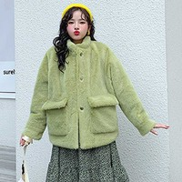 ANSFX Stylish Hairy Shaggy Faux Mink Fur Loose Coat Long Sleeve Two Pockets Women Furry Faux Fur Jacket Outerwear Tops 2 Colors