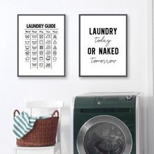 Lavandería hoy habitación decoración de pared lavandería símbolos guía arte lienzo pintura imprimir cartel lavandería habitación decoración de la pared YX138
