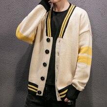 Новое поступление мужской свитер кардиганы полосатый v-образный вырез harajuku верхняя одежда для мужчин брендовая одежда плюс размер knitting мужской вязаный свитер