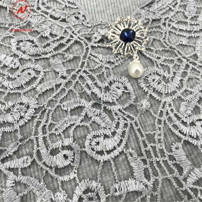 Elegant Lady ฤดูใบไม้ร่วงฤดูหนาวชุดดินสอ Patchwork ออกแบบลูกไม้ประดับด้วยลูกปัด Decor V-คอยาวแขนยาวสี Slim สะโพก Mini Dress