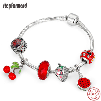 STEP FORWARD 925 Real Silver Fruit Women's Bracelets High Quality Bracelet Red Accesories Beads For Jewelry Making