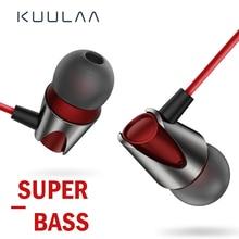 KUULAA Sport Earphone In Ear Earphones Bass Wired Headset 3.5mm Jack For iPhone 6 5 Xiaomi Samsung