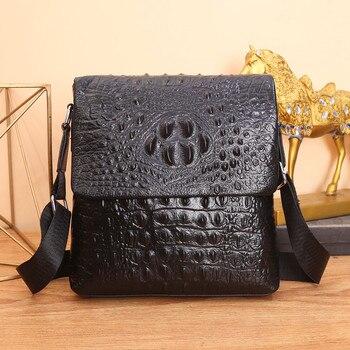 Kaisiludi Crocodile print leather business man bag messenger bag flip over man soft leather shoulder bag