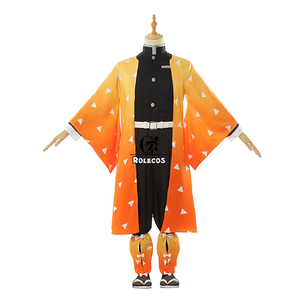 Image 5 - ROLECOS אנימה קוטלת שד קוספליי תלבושות Soubi Zenitsu Kimetsu לא Yaiba Cosplay תלבושות גברים קימונו צהוב אחיד מלא סט