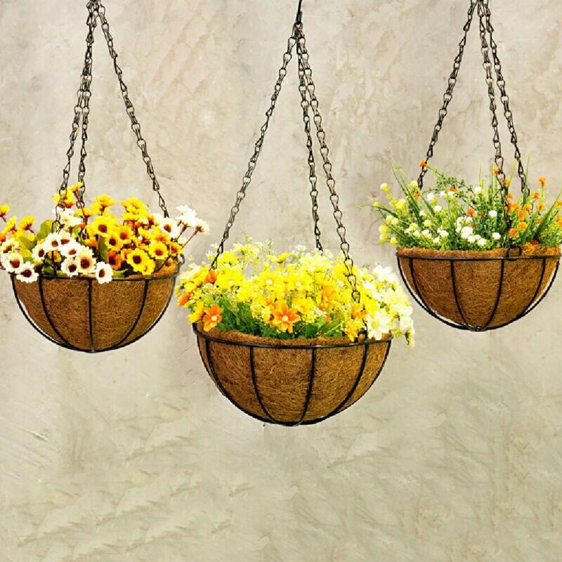 Suspendus noix de coco légumes Pot de fleur panier doublures planteur jardin décor fer Art