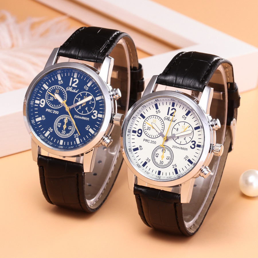 Men Watch Blue-ray Glass Neutral Quartz Watches Simulates Leather Band Watches Men's Dress Business Watches Top Brand Luxury