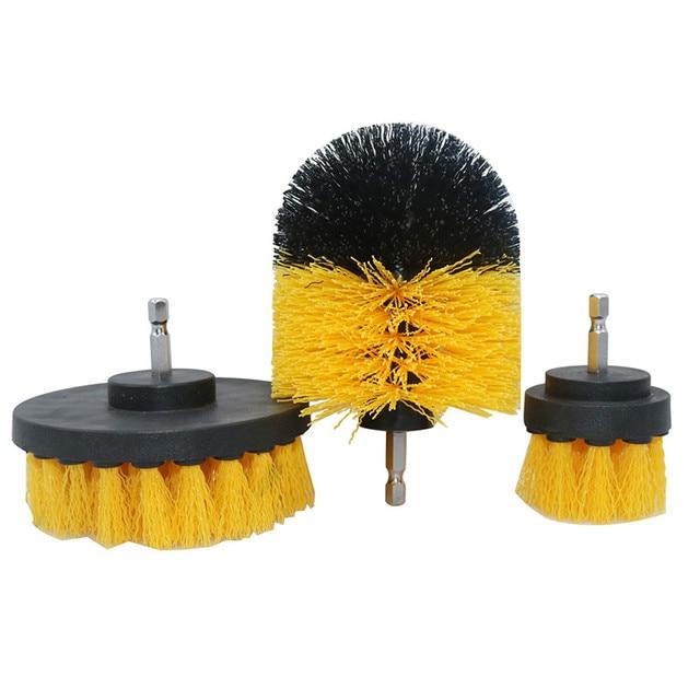 3 peça conjunto de detergente banheira escova carro pp cerda broca acessório ferramenta limpeza banheira carro esteira ferramenta limpeza elétrica