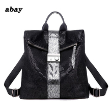 New fashion Europe and America retro soft leather sequins backpack womens personality lock backpack big leisure travel