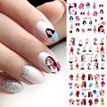 12 стилей абстрактные женские водные переводные наклейки для ногтей геометрические Мультяшные слайдеры эскиз абстрактный дизайн ногтей де...
