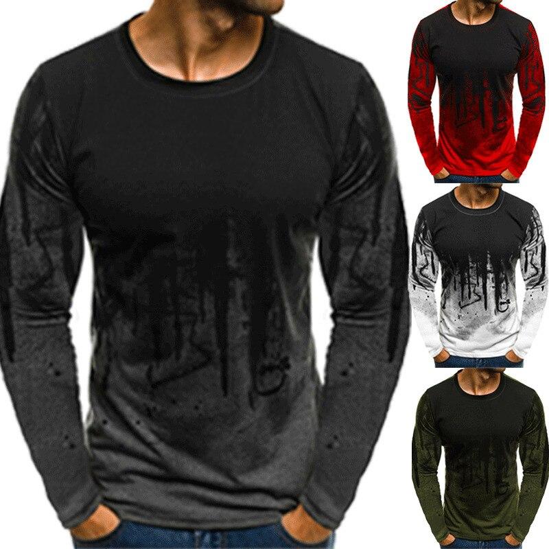 Autumn Fashion High-elasticity Silk T-shirt Men Long Sleeve Fitness T Shirt Men's Solid Gyms Bodybuilding Brand
