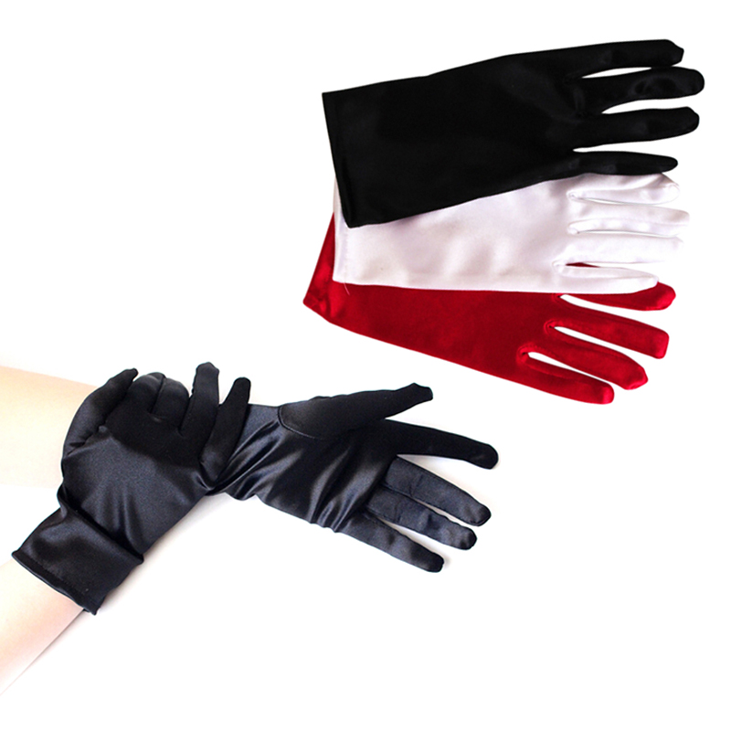 Fashion Popular  1 Pair Black White Red Mittens Lady Girl Short Gloves Prom Evening Party Costume Dance Wrist Gloves
