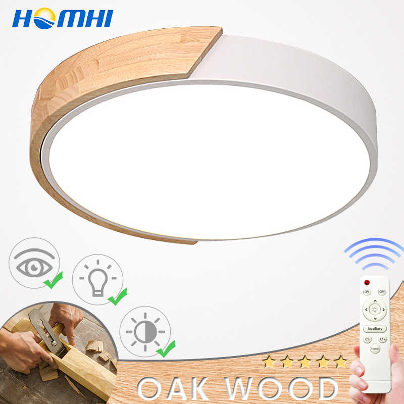 Modern led ceiling light with remote control Loft living room lights bedroom Nordic interior lighting home Wood led plafondlamp