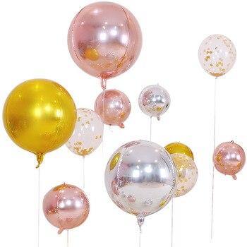 5pcs/lot 10 18 22 Inch 4D Round Aluminum Foil Balloons Metal Balloon Wedding Decoration Birthday Party Helium Ballon Supplies