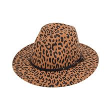 Leopard jazzowy kapelusz 6 kolorów Cheeath wełniany kapelusz kapelusz kowbojski wielki prezent na zimę DOM1061657 tanie tanio Unisex Poliester CN (pochodzenie) Dla dorosłych Kowbojskie kapelusze Na co dzień Drukuj DOM1657