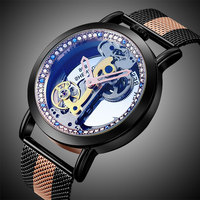 Erkek mekanik otomatik saatler lüks marka erkek içi boş oyma İskelet İzle kol saati relogio Masculino erkek saatler hediyeler