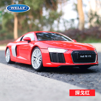 1:18 Scale Diecast Alloy Car Toys Model For Audi R8 Sports Car Model With Suspension Steering Wheel Control Front Wheel Steering image