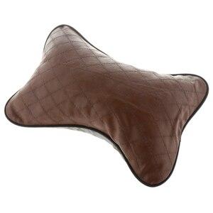 Image 2 - ブランド New 耐久品質の革枕通気性メッシュクッションヘッドレスト首枕高ヘルスケア車のヘッドレスト