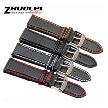 New 18mm 20mm 21mm 22mm 23mm Durable Orange Stitching carbon Fiber mens black genuine leather with silver clasp watchband strap carbon fiber particles watchband 18mm 20mm 22mm 24mmblack waterproof red stitching with genuine leather inner watch band strap